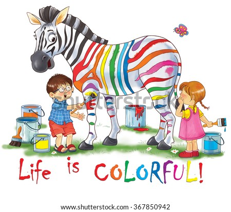 At the zoo. Animals of Africa. Funny zebra. Cute boy and girl are coloring zebra's strips in different colors. Illustration for children. Coloring book. Coloring page. Cartoon characters.  - stock photo