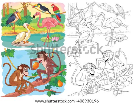 At the zoo. Cute African animals. Two monkeys sitting in a tree and African birds. A pelican, a toucan, a parrot, a marabou and a flamingo. Illustration for children. Coloring page. Cartoon characters - stock photo