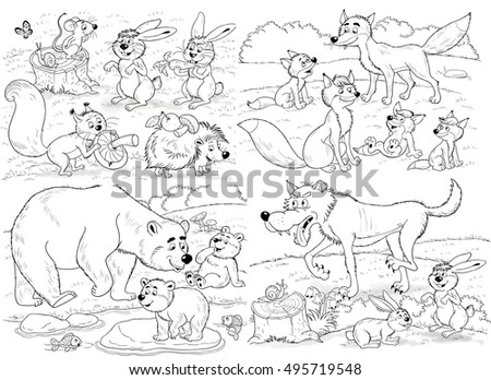 Zoo Set Cute Funny Forest Animals Stock Illustration 495719548