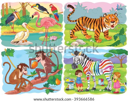 At the zoo. Small set of cute African animals. Monkeys, tiger, zebra and beautiful birds - toucan, parrot, marabou, pelican and flamingo. Illustration for children. Cartoon characters. Coloring page. - stock photo