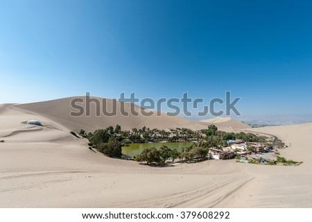 Atacama Desert, Oasis of Huacachina, Peru - stock photo