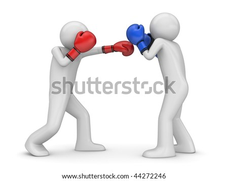 Atack and defence in boxing! (3d isolated characters sports series) - stock photo