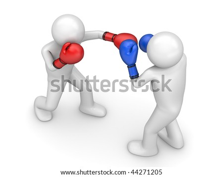 Atack in boxing! (3d isolated characters sports series) - stock photo