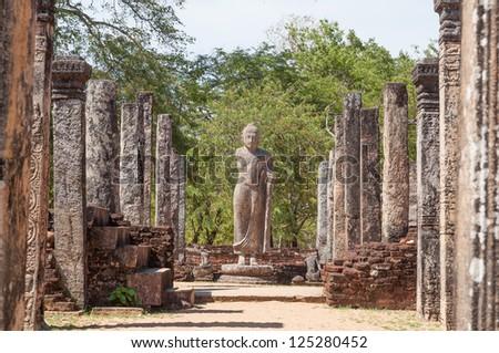 Atadage in ancient city of Polonnaruwa, Sri Lanka. The Atadage was built by King Vijayabahu I to house the sacred tooth relic. - stock photo