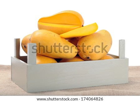 ataulfo mango in crate on the table isolate on white