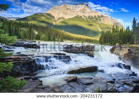 Athabasca Falls in Jasper National Park, Alberta, Canada - stock photo