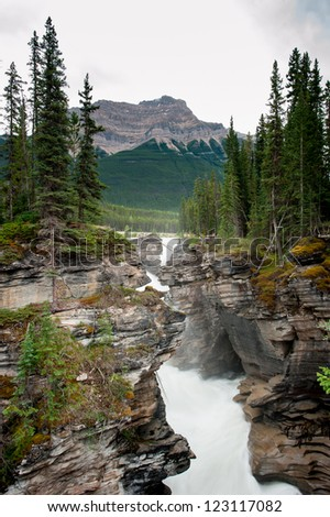 Athabasca Falls Waterfall, Jasper National Park, Alberta, Canada - stock photo