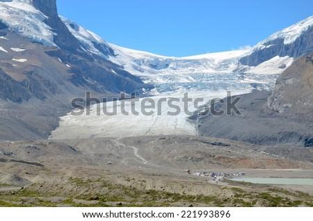 Athabasca Glacier at Columbia Icefield Parkway, Canada - stock photo