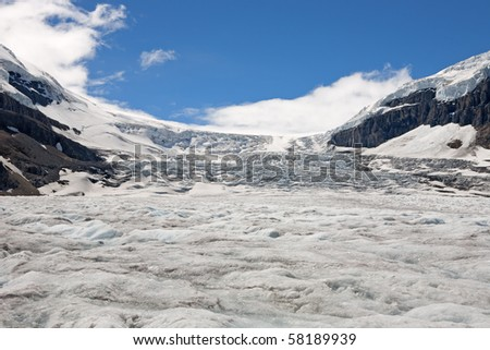 Athabasca Glacier at Jasper National Park - stock photo