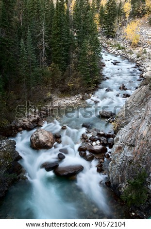 Athabasca River Rocky Mountains white water Canada - stock photo