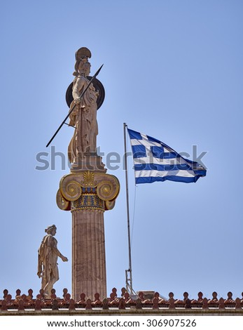 Athena and Apollo statues and Greek flag unusual view - stock photo