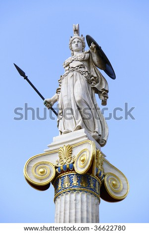 Athena in front of the Academy of Athens - stock photo