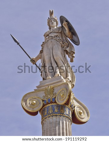 Athena statue, the goddess of science and wisdom, Greece