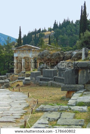 Athenian treasury, Delphi, Greece - stock photo