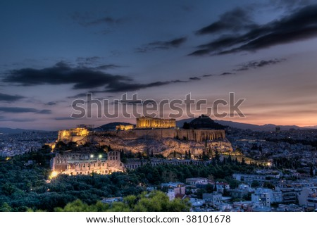 Athens Acropolis at dawn - stock photo