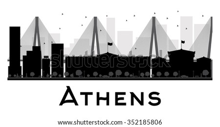 Athens City skyline black and white silhouette. Simple flat concept for tourism presentation, banner, placard or web site. Business travel concept. Cityscape with famous landmarks - stock photo
