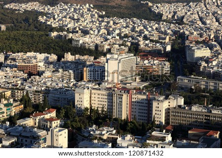 Athens cityscape from mount Lycabettus in summer, Greece