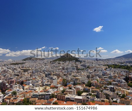 Athens cityscape, north view from Acropolis - stock photo