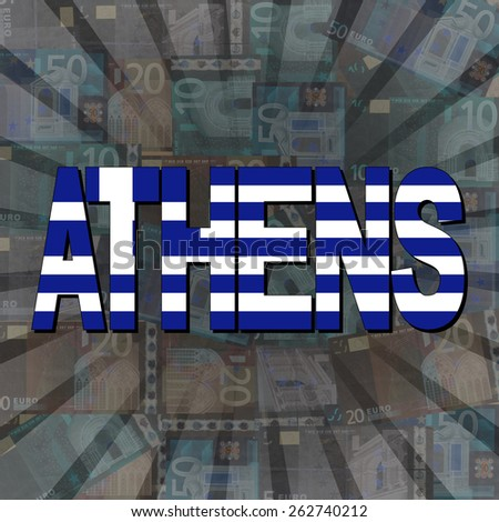 Athens flag text on Euros sunburst illustration - stock photo