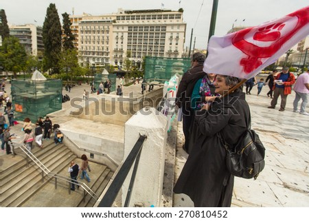 ATHENS, GREECE - APR 18, 2015: Unidentified protesters during the World Day of Action against TTIP CETA TISA, (Transatlantic Trade and Investment Partnership) in Athens near presidential Palace.