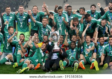 ATHENS, GREECE APRIL 26, 2014 : Team photo holding the Cup afther their win over Paok during the Greek Cup Final match Paok vs Panathinaikos - stock photo