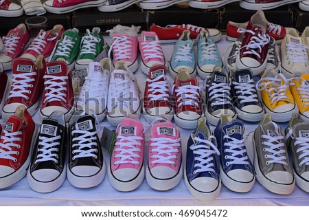 ATHENS, GREECE - AUGUST 15, 2016: Converse all star casual shoes colorful sports sneakers for sale.