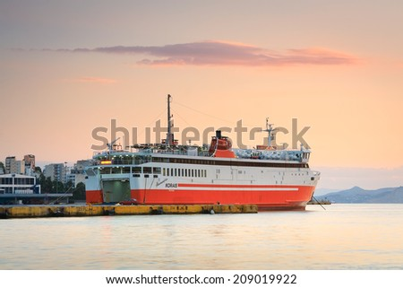 Athens, Greece - August 2 2014: Evening in the passenger port of Piraeus, Athens.