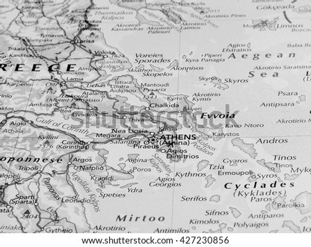 ATHENS, GREECE - CIRCA MAY 2016: Detail of a map of the city with selective focus on town name in black and white