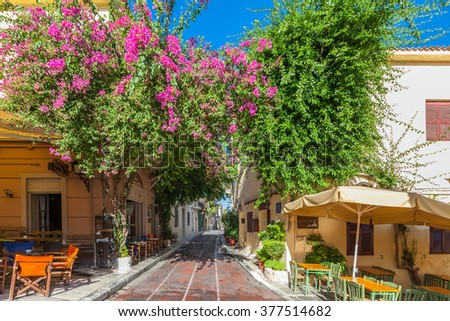 Athens, Greece, famous Plaka neighbourhood near Acropolis    - stock photo
