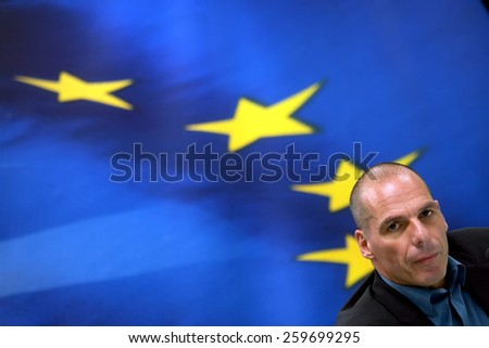 ATHENS, GREECE - JANUARY  31, 2015:Greece's Finance Minister Yanis Varoufakis during a joint press conference with Finance Minister and Eurogroup President Jeroen Dijsselbloem in Athens.
