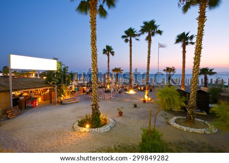 ATHENS, GREECE  JULY 24 2015: Restaurant on the beach in Palaio Faliro in Athens, Greece on July 24, 2015.