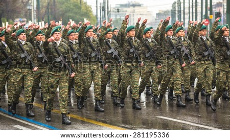 ATHENS, GREECE - MAR 25, 2015: Soldiers celebrate the Independence Day of Greece, annual national holiday, on this day Greeks pay tribute to the heroes of the Revolution 1821-1829.  - stock photo