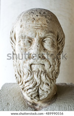 ATHENS,GREECE-MARCH 26,2016:Statue probably of Herodotus in stoa of Attalos.