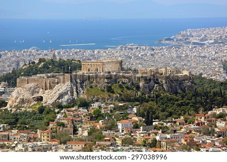 ATHENS, GREECE - MAY 02: Aerial Cityscape of Athens on MAY 02, 2015. Acropolis UNESCO World Heritage Site and City From Mount Lycabettus in Athens, Greece. - stock photo