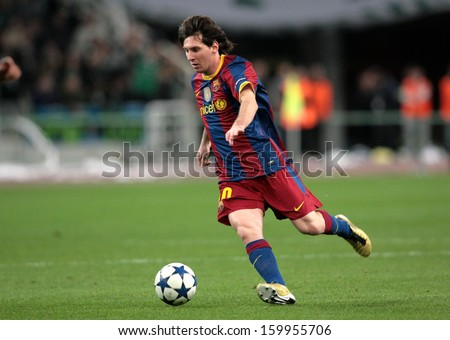 ATHENS, GREECE - NOV 24 : Messi of Barcelona in action during the UEFA Champions League group stage match Panathinaikos vs Barcelona on November 24, 2010 in Athens, Greece - stock photo