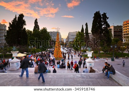 Athens, Greece - November 28, 2015: People enjoying the evening in Syntagma square during the advent before christmas