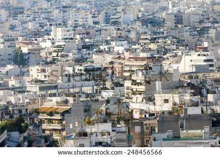 ATHENS, GREECE - OCTOBER 6: A view of the residential buildings on October 6th, 2011 in Athens, Greece.