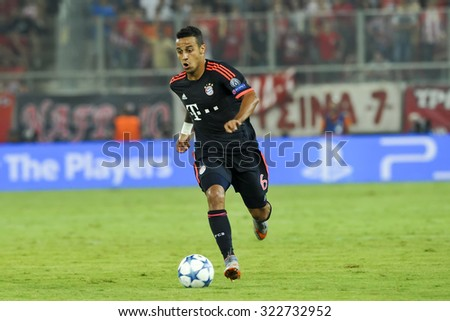 Athens, Greece- September 16, 2015: Thiago Alcantara during the UEFA Champions League game between Olympiacos and Bayern, in Athens, Greece.