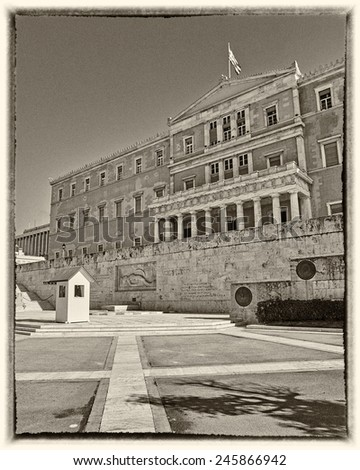 Athens, Greece, the parliament on Syntagma square, instagram filtered - stock photo