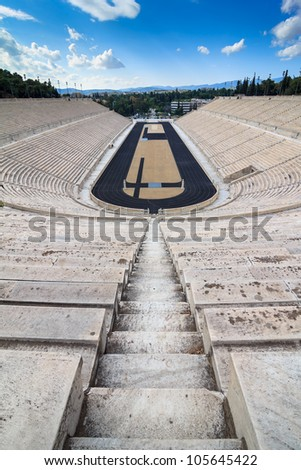ATHENS - MAY 19: Panathinaiko (Kallimarmaro) stadium on 19th May 2012, Athens. It is the only major stadium built entirely of white marble and one of the oldest stadiums in the world