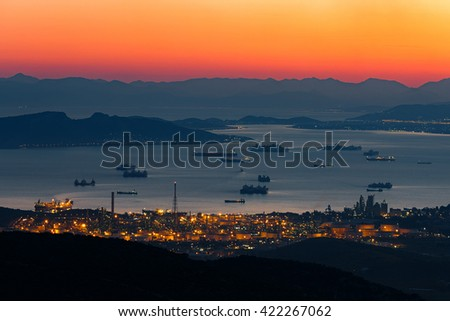 Athens skyline view after sunset with vivid street lights in Greece - stock photo