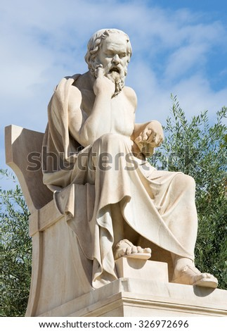 Athens - The statue of Socrates in front of National Academy building by the Italian sculptor Piccarelli (from 19. cent.) - stock photo
