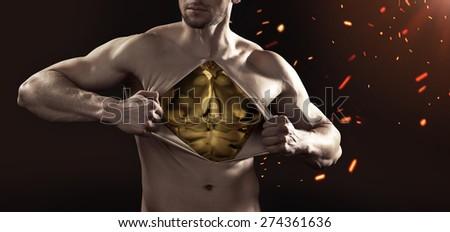 Athlete businessman showing his internal strength  - stock photo