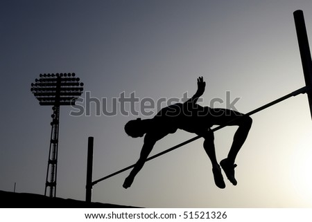 Athlete compete in paul vault - stock photo