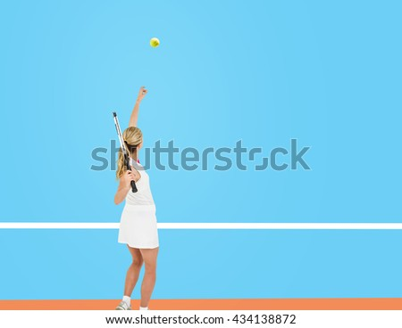Athlete holding a tennis racquet ready to serve against digitally generated image of tracks - stock photo