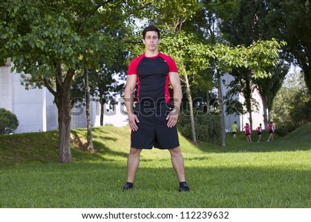 Athlete man at the city park - stock photo