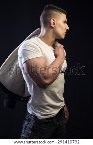 Athlete men looking at side - stock photo