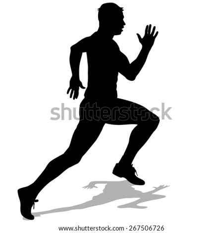 Athlete on running race, silhouettes.  illustration. - stock photo