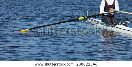 Athlete rower at the start. - stock photo