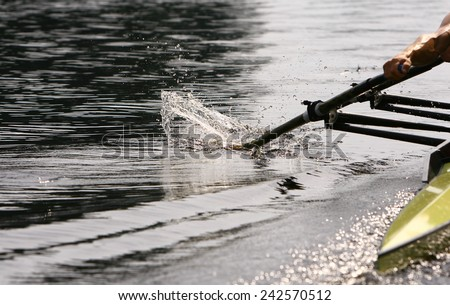 Athlete rower at the start. spray. Rowing. - stock photo